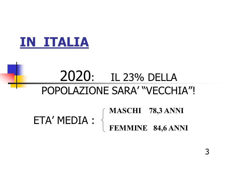 2020: IL 23% DELLA POPOLAZIONE SARA' VECCHIA ! ETA' MEDIA :