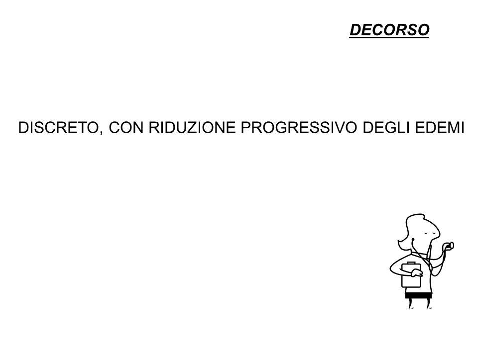 DECORSO DISCRETO, CON RIDUZIONE PROGRESSIVO DEGLI EDEMI