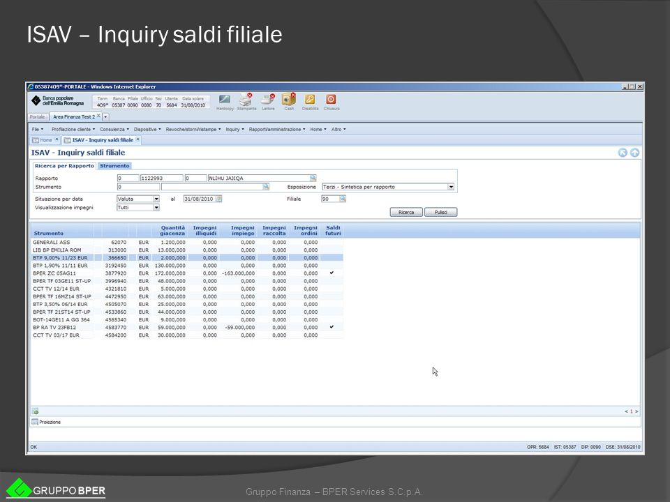 ISAV – Inquiry saldi filiale