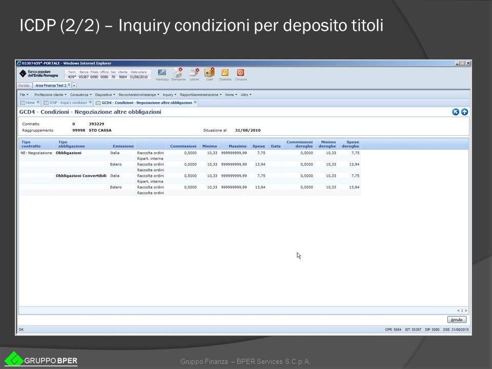 ICDP (2/2) – Inquiry condizioni per deposito titoli