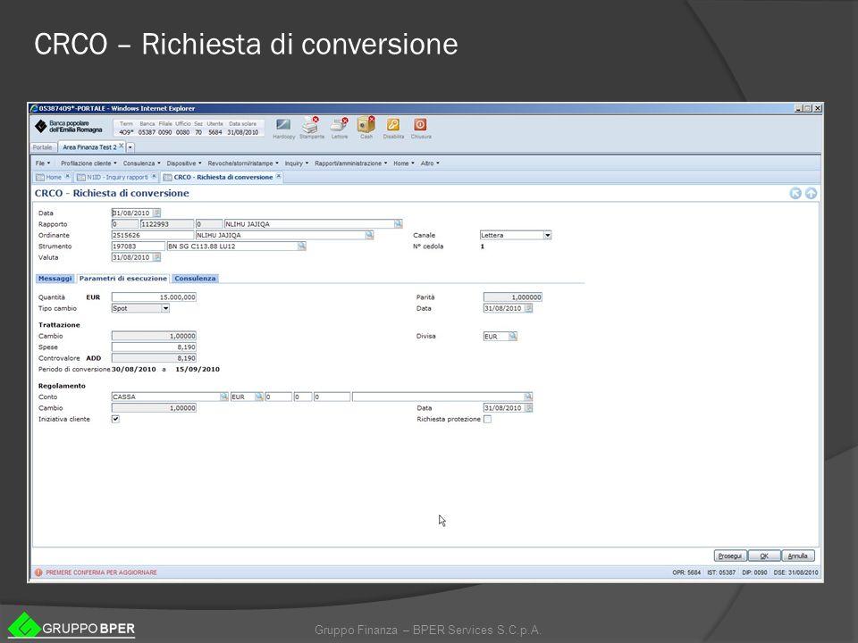CRCO – Richiesta di conversione
