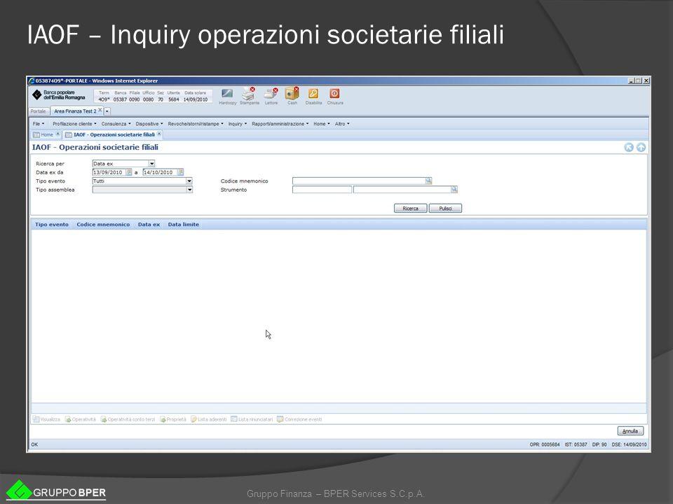 IAOF – Inquiry operazioni societarie filiali