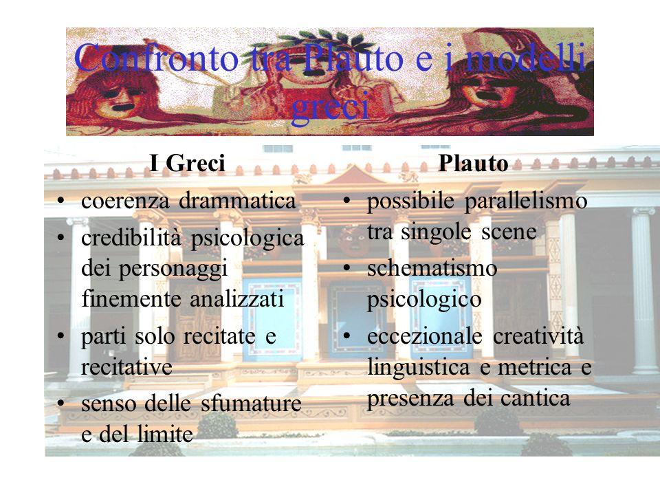 Confronto tra Plauto e i modelli greci