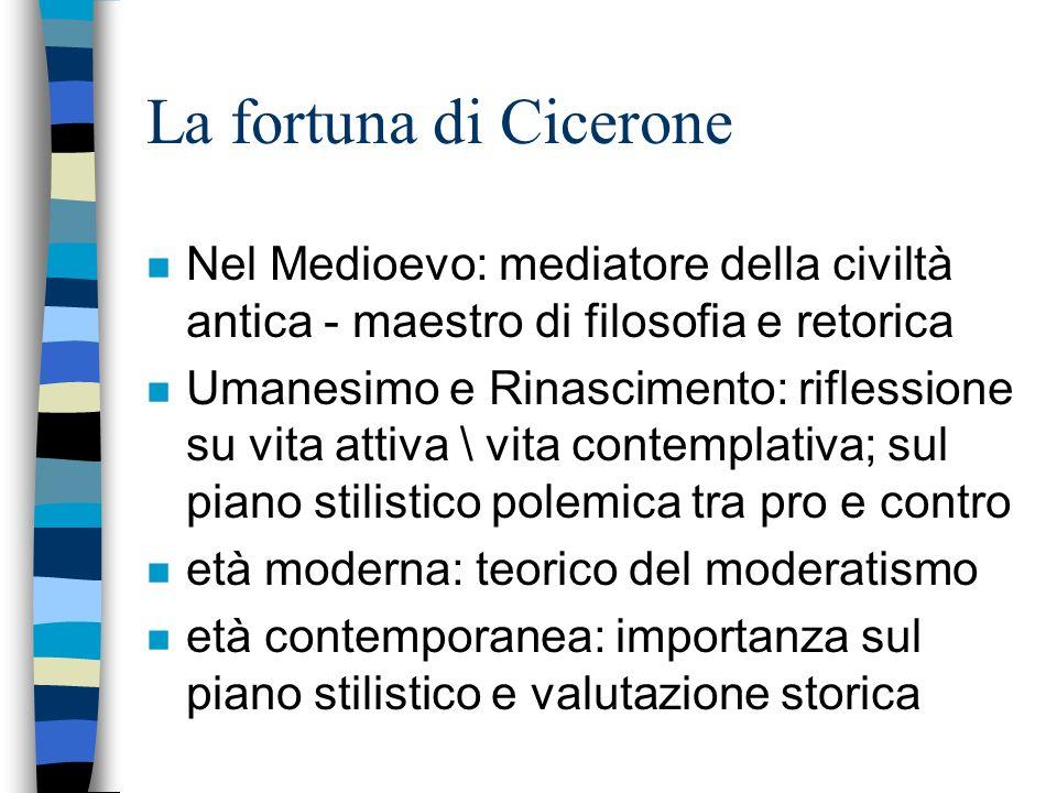La fortuna di Cicerone Nel Medioevo: mediatore della civiltà antica - maestro di filosofia e retorica.