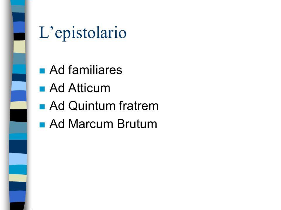 L'epistolario Ad familiares Ad Atticum Ad Quintum fratrem