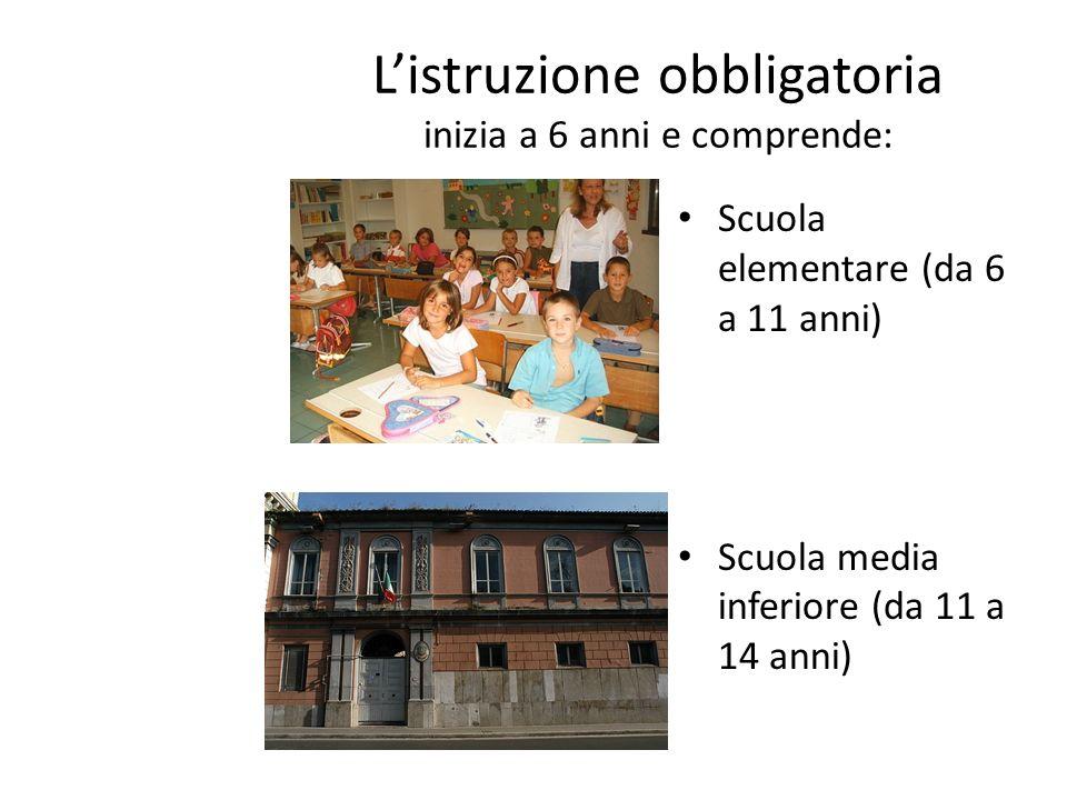 L'istruzione obbligatoria inizia a 6 anni e comprende: