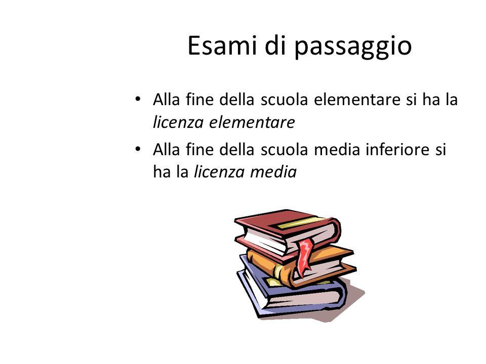 Esami di passaggio Alla fine della scuola elementare si ha la licenza elementare.