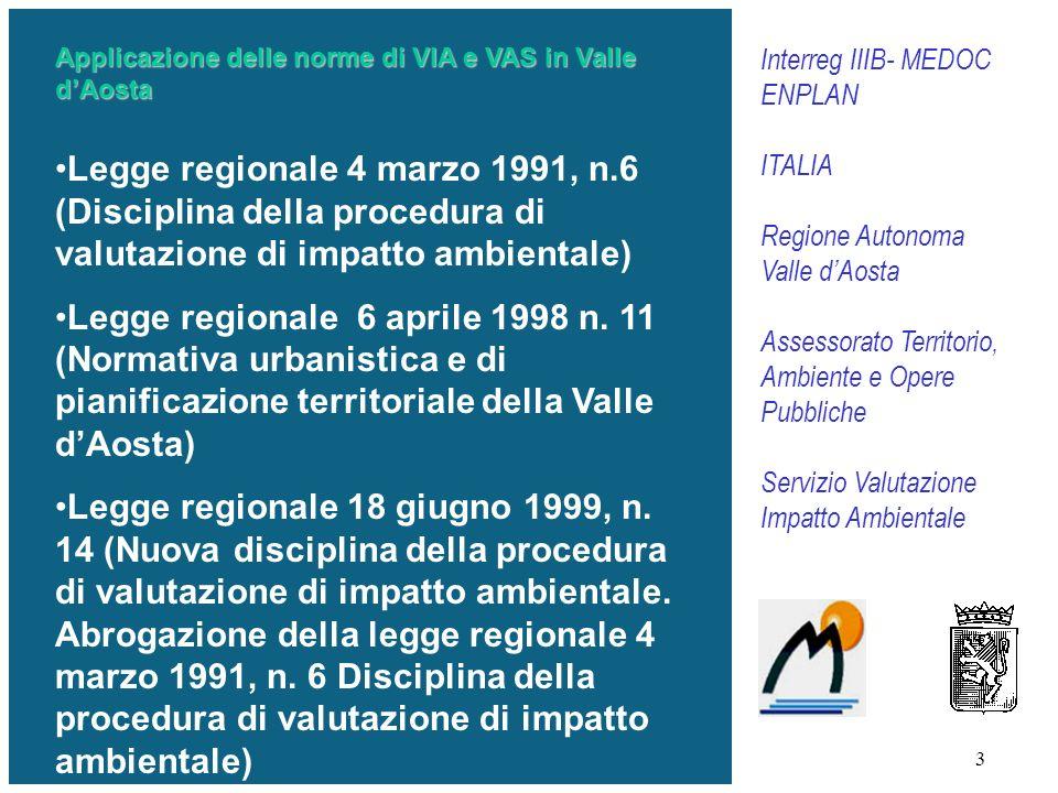 Applicazione delle norme di VIA e VAS in Valle d'Aosta
