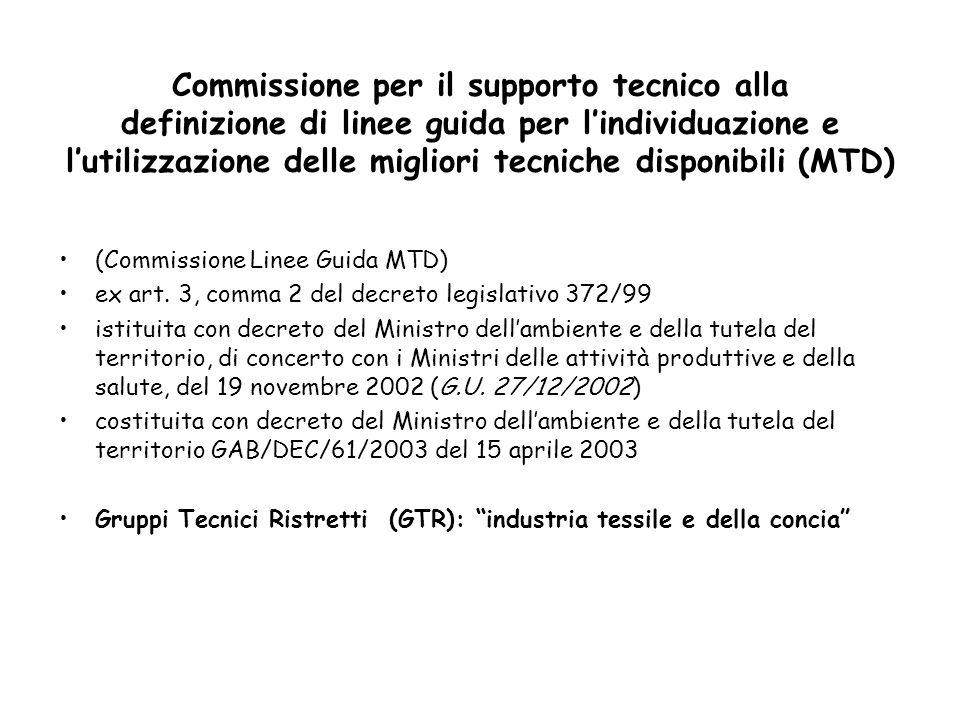 Commissione per il supporto tecnico alla definizione di linee guida per l'individuazione e l'utilizzazione delle migliori tecniche disponibili (MTD)