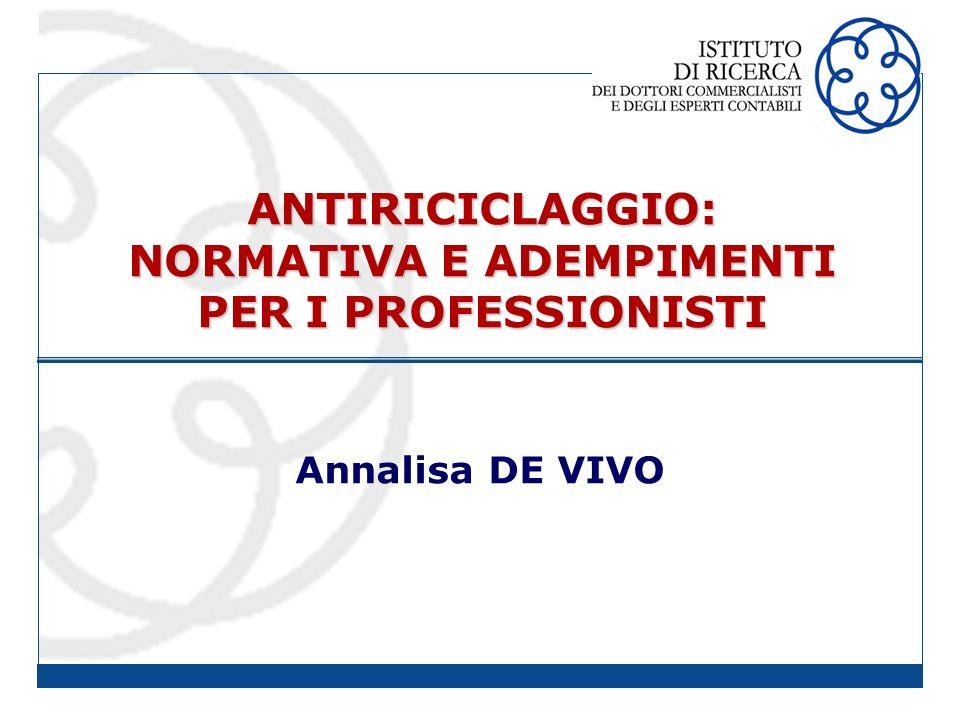 ANTIRICICLAGGIO: NORMATIVA E ADEMPIMENTI PER I PROFESSIONISTI