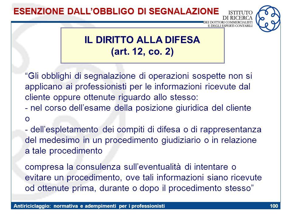 IL DIRITTO ALLA DIFESA (art. 12, co. 2)