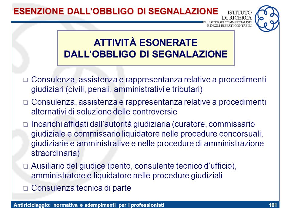 ATTIVITÀ ESONERATE DALL'OBBLIGO DI SEGNALAZIONE