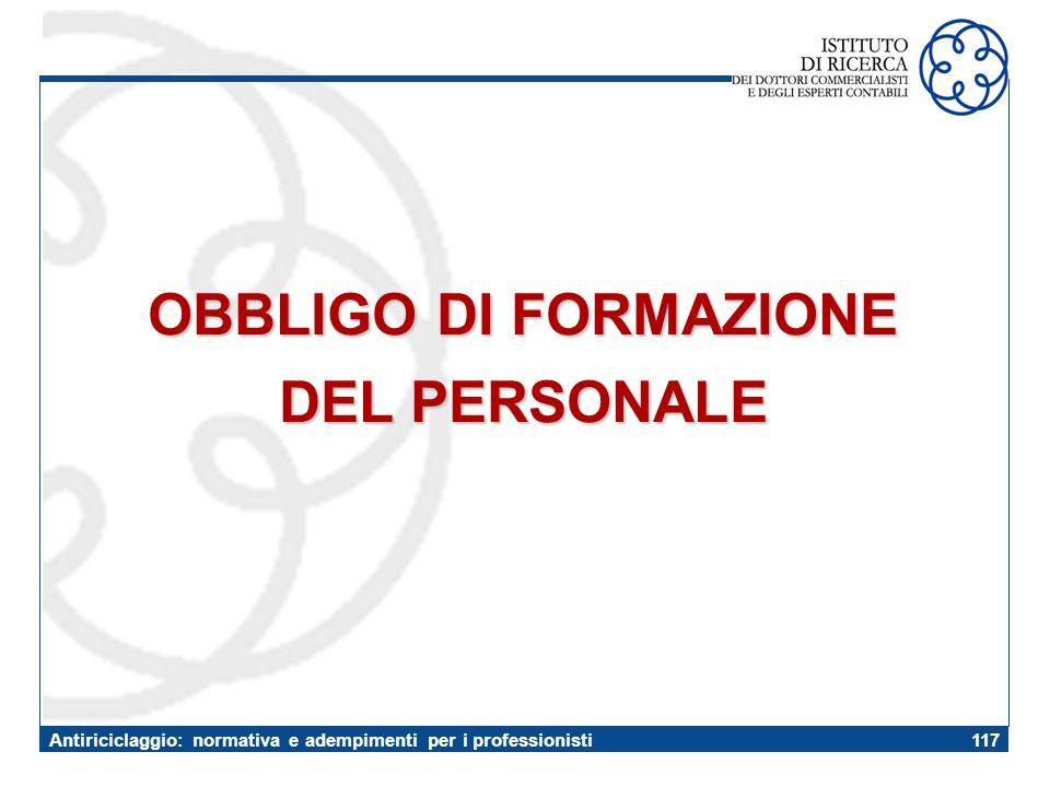 OBBLIGO DI FORMAZIONE DEL PERSONALE