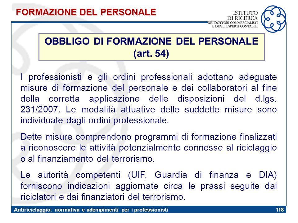 OBBLIGO DI FORMAZIONE DEL PERSONALE (art. 54)
