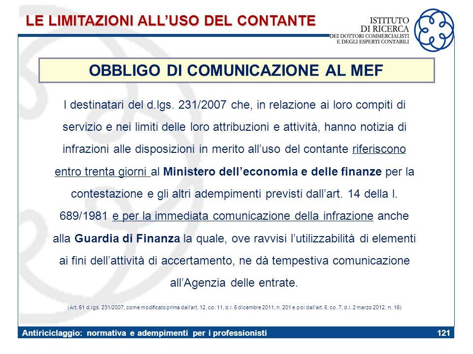 OBBLIGO DI COMUNICAZIONE AL MEF