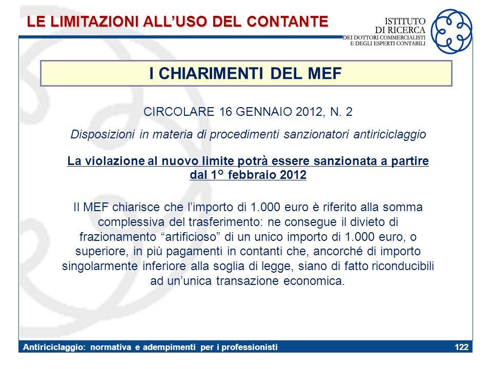 Disposizioni in materia di procedimenti sanzionatori antiriciclaggio