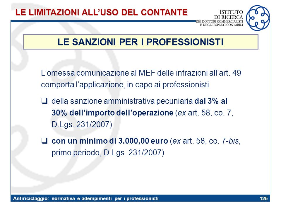 LE SANZIONI PER I PROFESSIONISTI