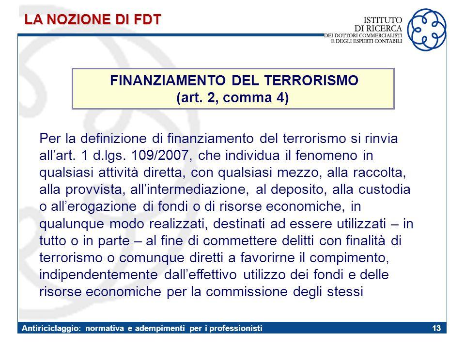 FINANZIAMENTO DEL TERRORISMO
