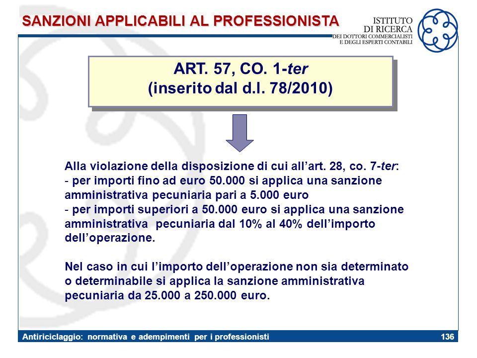 ART. 57, CO. 1-ter (inserito dal d.l. 78/2010)