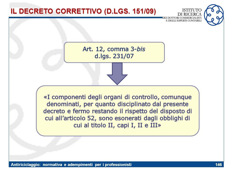 IL DECRETO CORRETTIVO (D.LGS. 151/09)