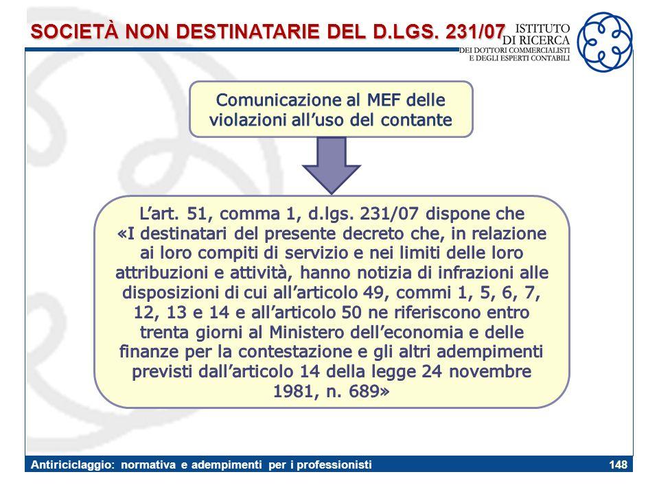 SOCIETÀ NON DESTINATARIE DEL D.LGS. 231/07