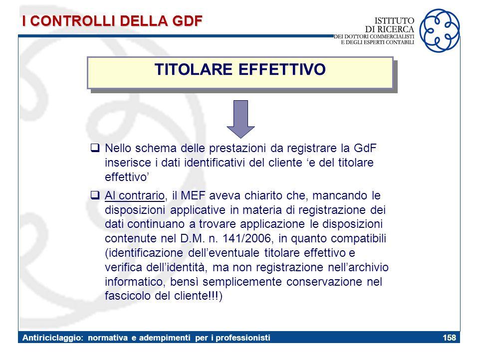 TITOLARE EFFETTIVO I CONTROLLI DELLA GDF