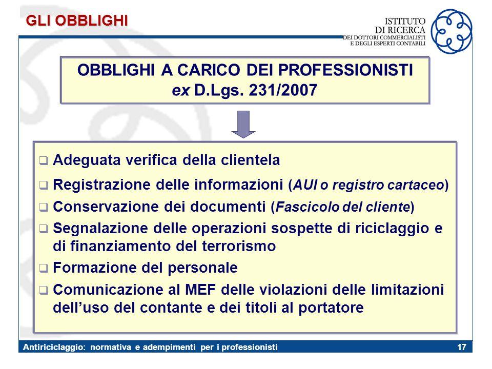 OBBLIGHI A CARICO DEI PROFESSIONISTI ex D.Lgs. 231/2007