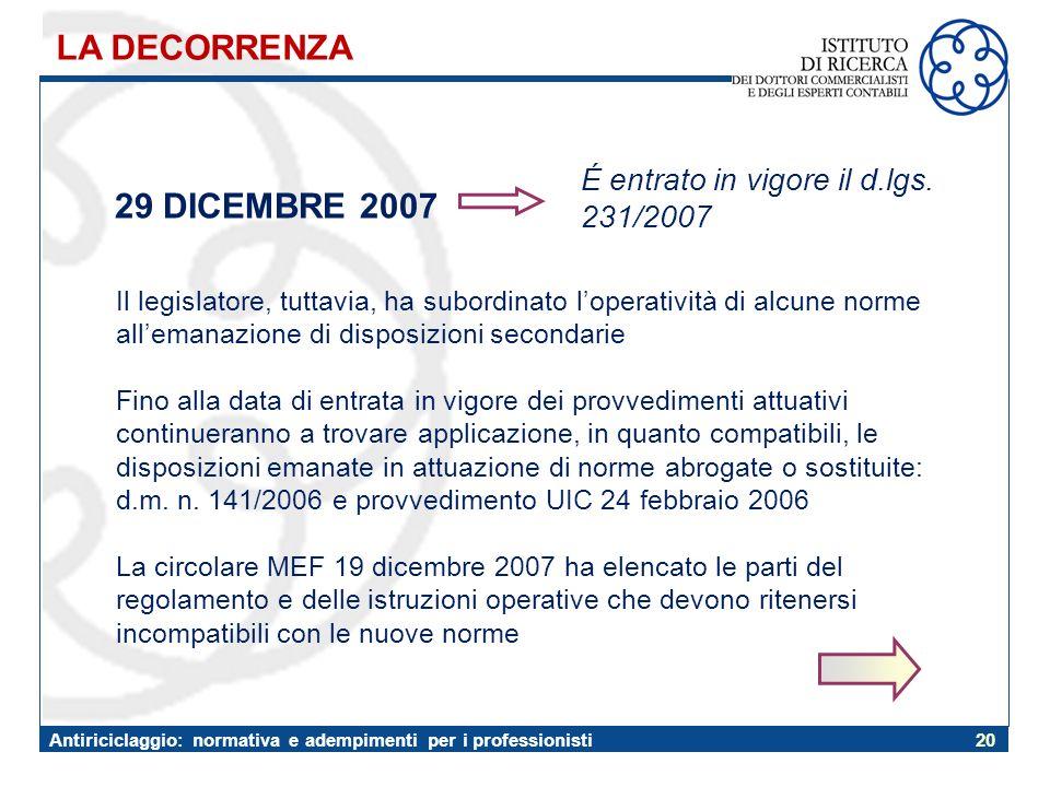 LA DECORRENZA 29 DICEMBRE 2007 É entrato in vigore il d.lgs. 231/2007