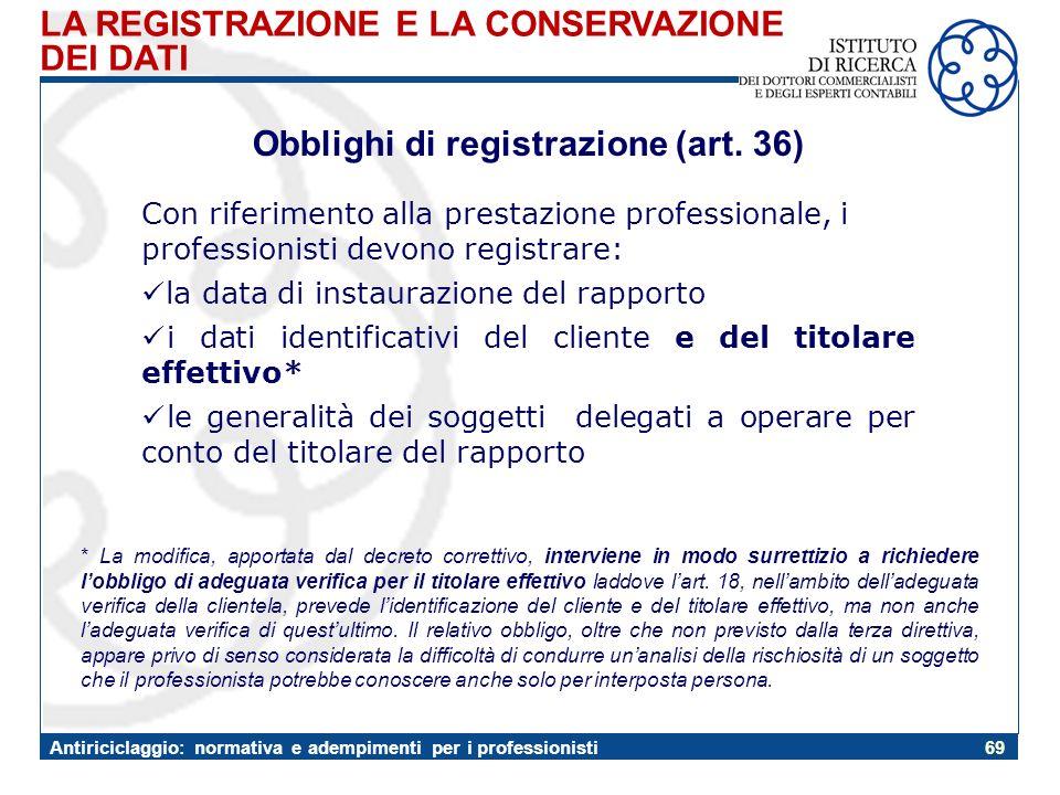Obblighi di registrazione (art. 36)