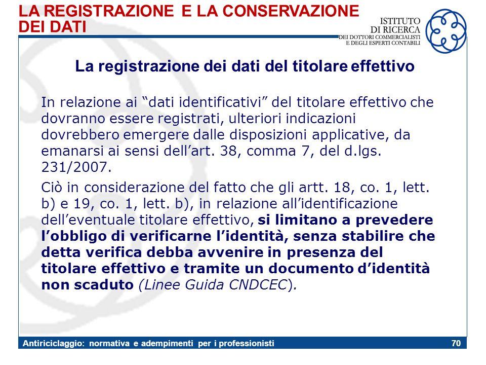 La registrazione dei dati del titolare effettivo
