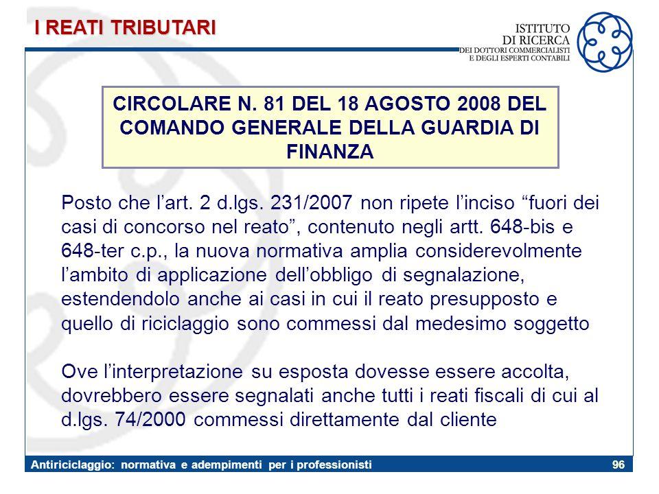 I REATI TRIBUTARI CIRCOLARE N. 81 DEL 18 AGOSTO 2008 DEL COMANDO GENERALE DELLA GUARDIA DI. FINANZA.