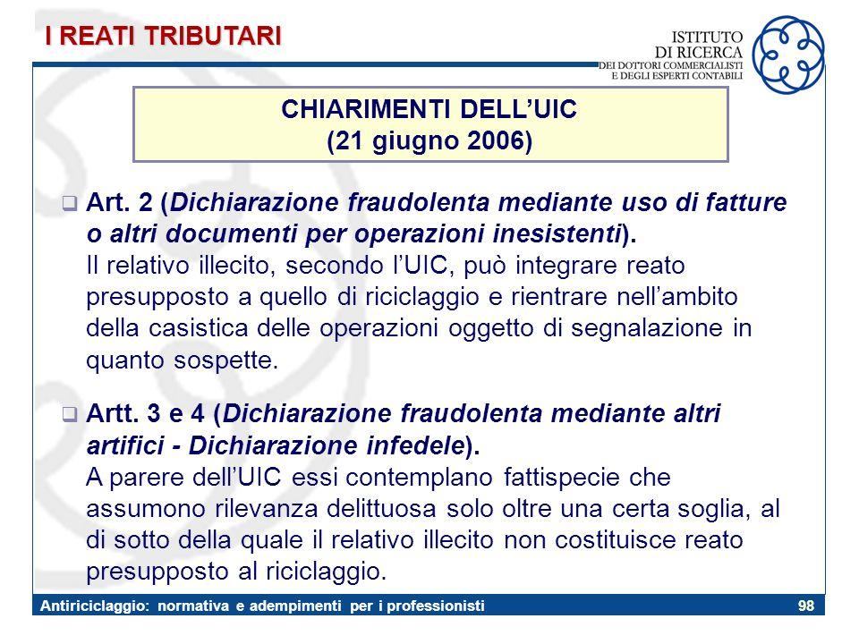 I REATI TRIBUTARI CHIARIMENTI DELL'UIC. (21 giugno 2006)