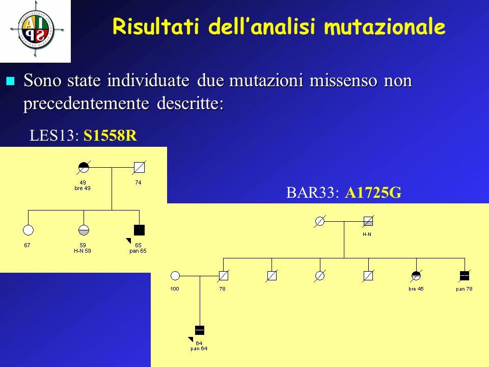Risultati dell'analisi mutazionale