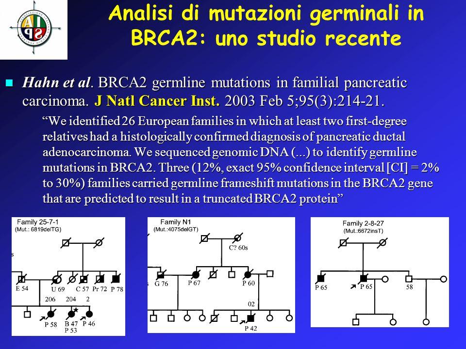 Analisi di mutazioni germinali in BRCA2: uno studio recente