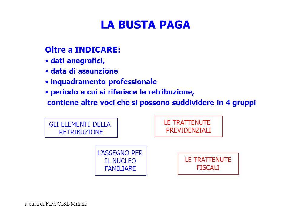 LA BUSTA PAGA Oltre a INDICARE: dati anagrafici, data di assunzione