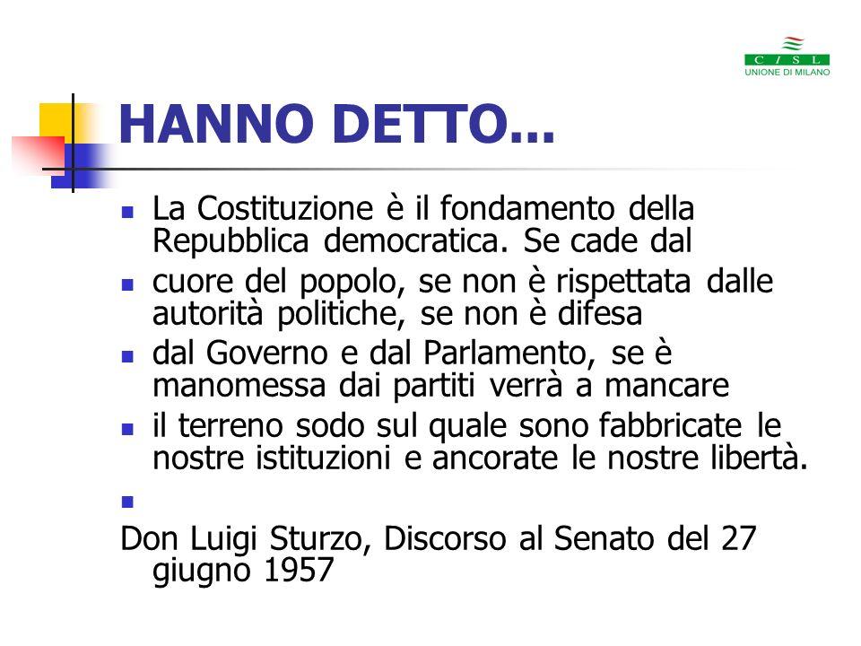 HANNO DETTO...La Costituzione è il fondamento della Repubblica democratica. Se cade dal.
