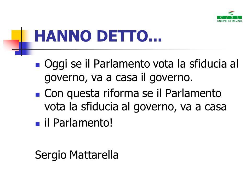 HANNO DETTO... Oggi se il Parlamento vota la sfiducia al governo, va a casa il governo.