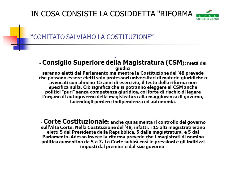 IN COSA CONSISTE LA COSIDDETTA RIFORMA COMITATO SALVIAMO LA COSTITUZIONE