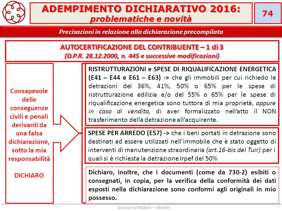 Adempimento dichiarativo 2016 problematiche e novit - Detrazioni fiscali in caso di vendita immobile ...