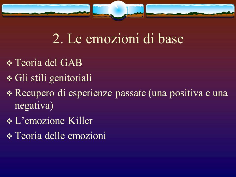 2. Le emozioni di base Teoria del GAB Gli stili genitoriali