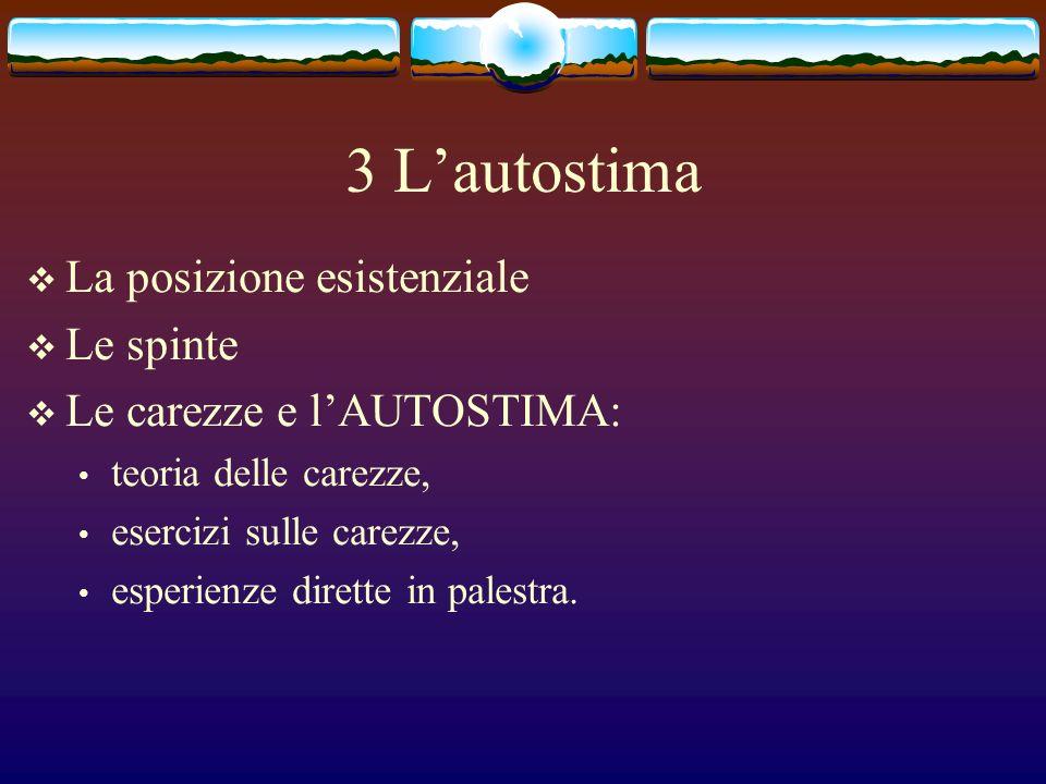 3 L'autostima La posizione esistenziale Le spinte