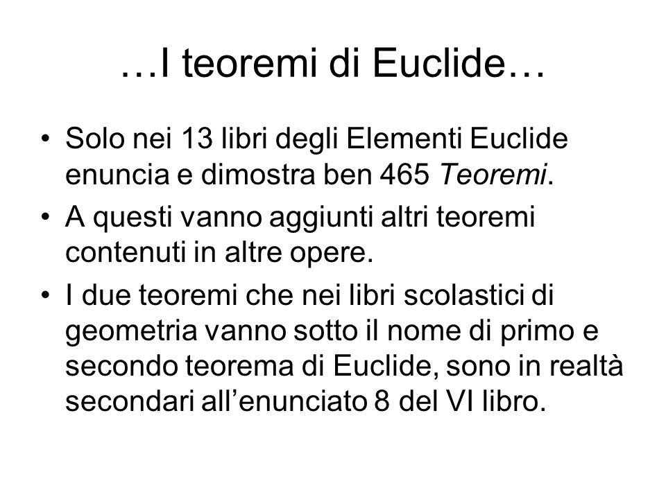 …I teoremi di Euclide… Solo nei 13 libri degli Elementi Euclide enuncia e dimostra ben 465 Teoremi.