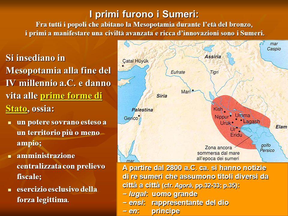 I primi furono i Sumeri: Fra tutti i popoli che abitano la Mesopotamia durante l'età del bronzo, i primi a manifestare una civiltà avanzata e ricca d'innovazioni sono i Sumeri.