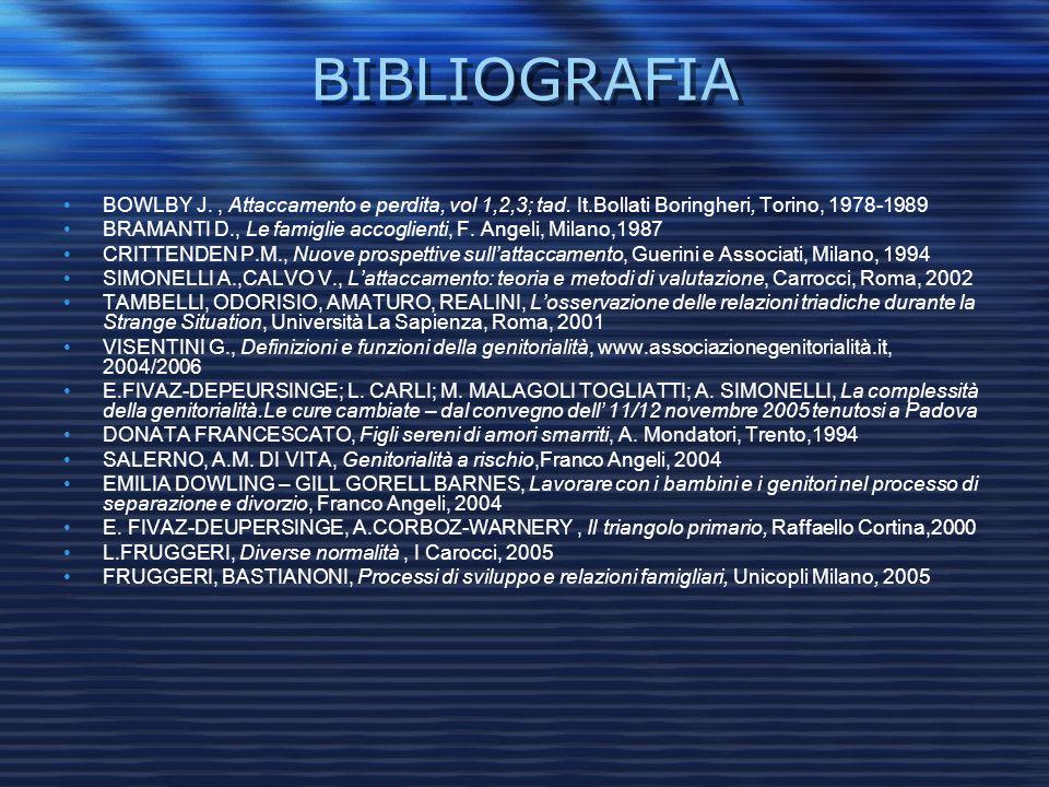 BIBLIOGRAFIA BOWLBY J. , Attaccamento e perdita, vol 1,2,3; tad. It.Bollati Boringheri, Torino, 1978-1989.