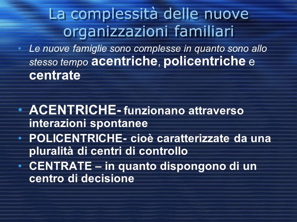 La complessità delle nuove organizzazioni familiari