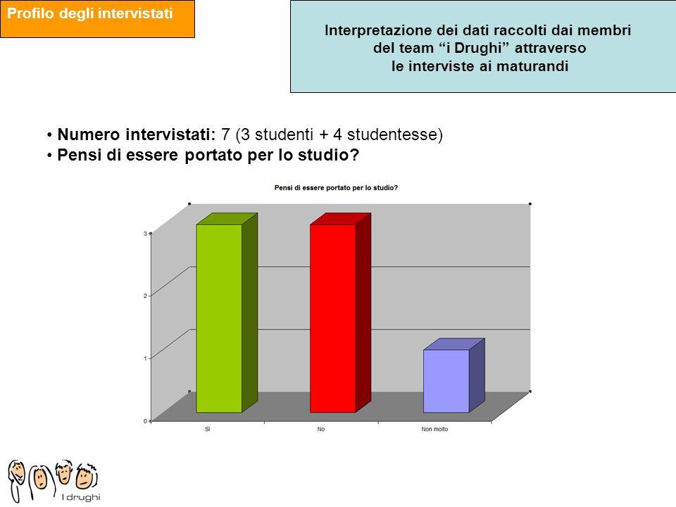 Numero intervistati: 7 (3 studenti + 4 studentesse)