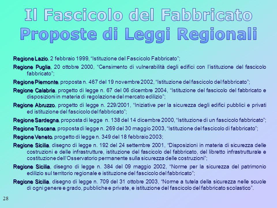 Il Fascicolo del Fabbricato Proposte di Leggi Regionali