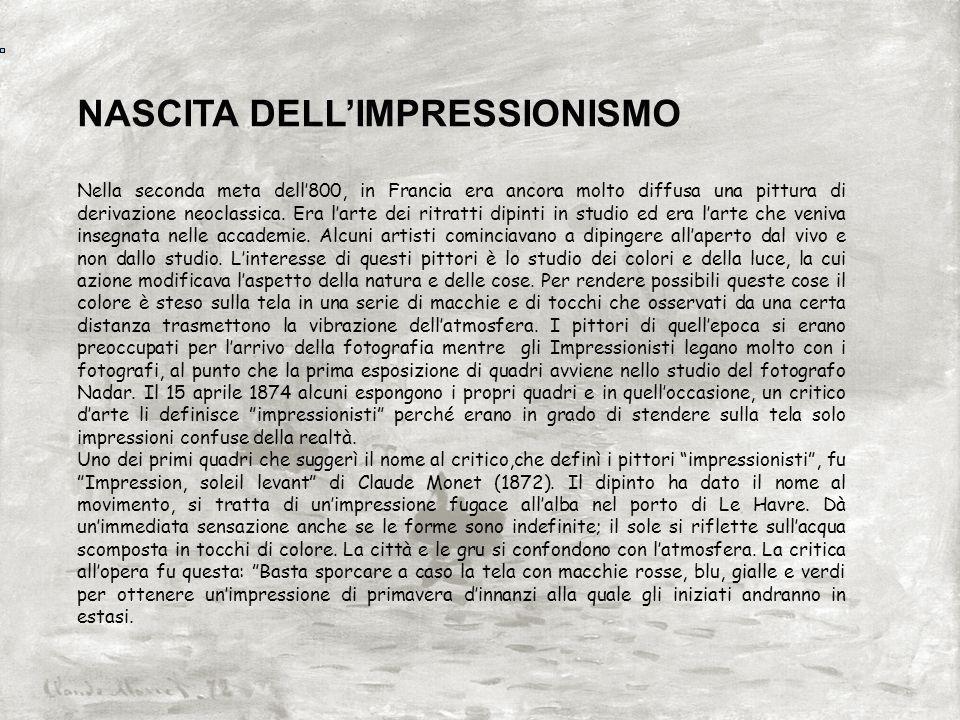 NASCITA DELL'IMPRESSIONISMO