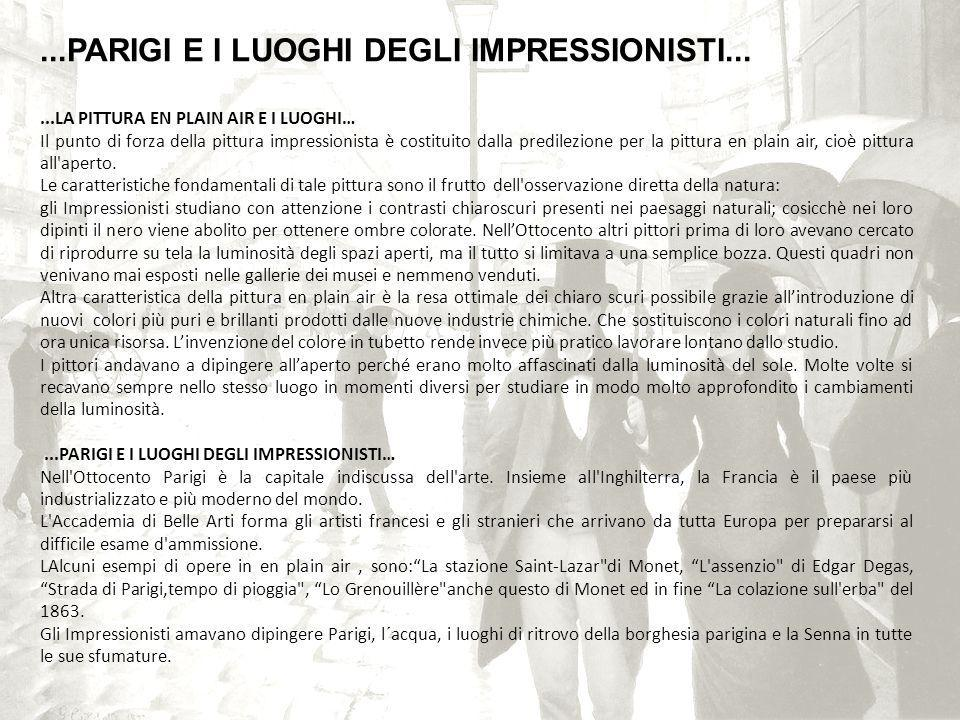 ...PARIGI E I LUOGHI DEGLI IMPRESSIONISTI...