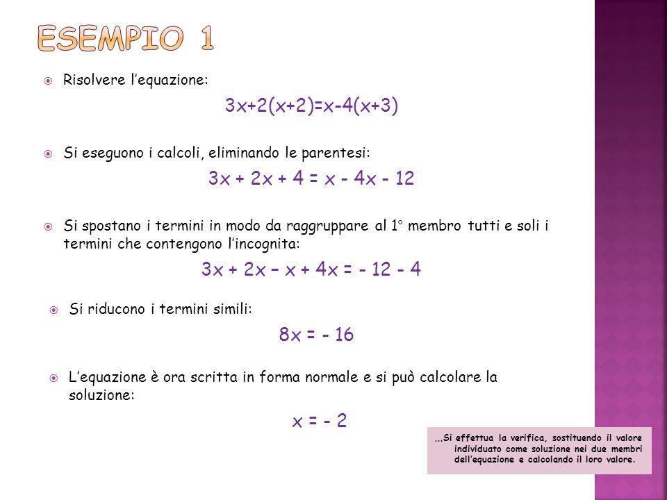 Esempio 1 3x+2(x+2)=x-4(x+3) 3x + 2x + 4 = x - 4x - 12